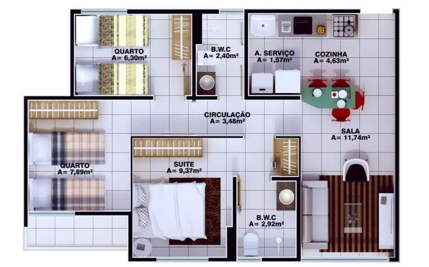 5 Apartamento 60,34m²,3 quartos sendo 1 suíte, zona leste Teresina, próximo Novafapi