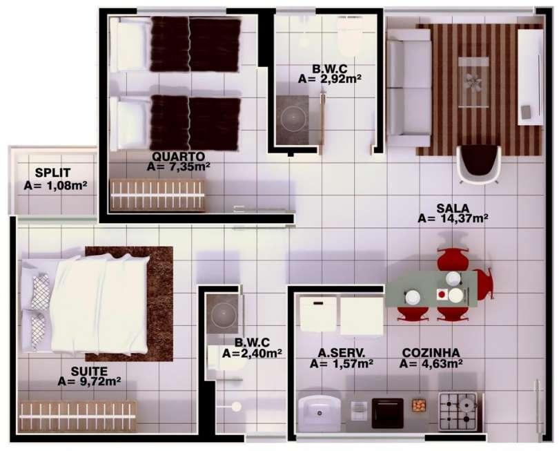 6 Apartamento 60,34m²,3 quartos sendo 1 suíte, zona leste Teresina, próximo Novafapi